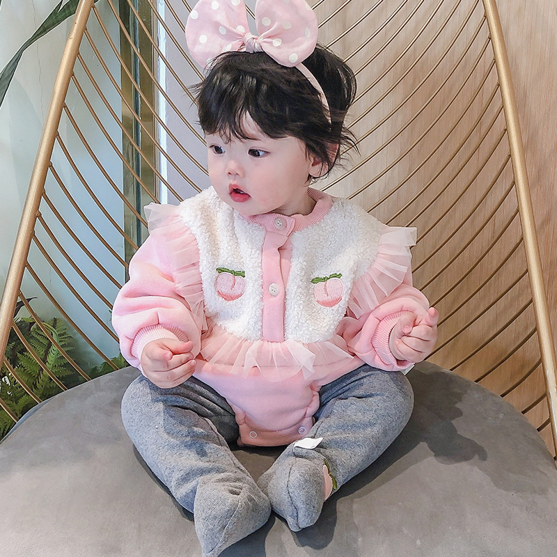 Baby triangle Romper honey peach embroidered baby creeper Jumpsuit plush new winter childrens wear