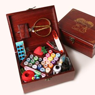 婚庆实木针线盒套装结婚陪嫁用品家用布艺缝纫针线剪刀缝纫线工具品牌