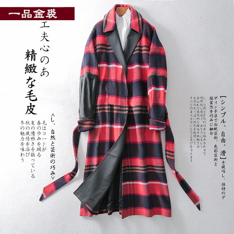 Woolen coat womens middle long waist REAL SHEEPSKIN maonizi popular Plaid double-sided coat in spring 2020