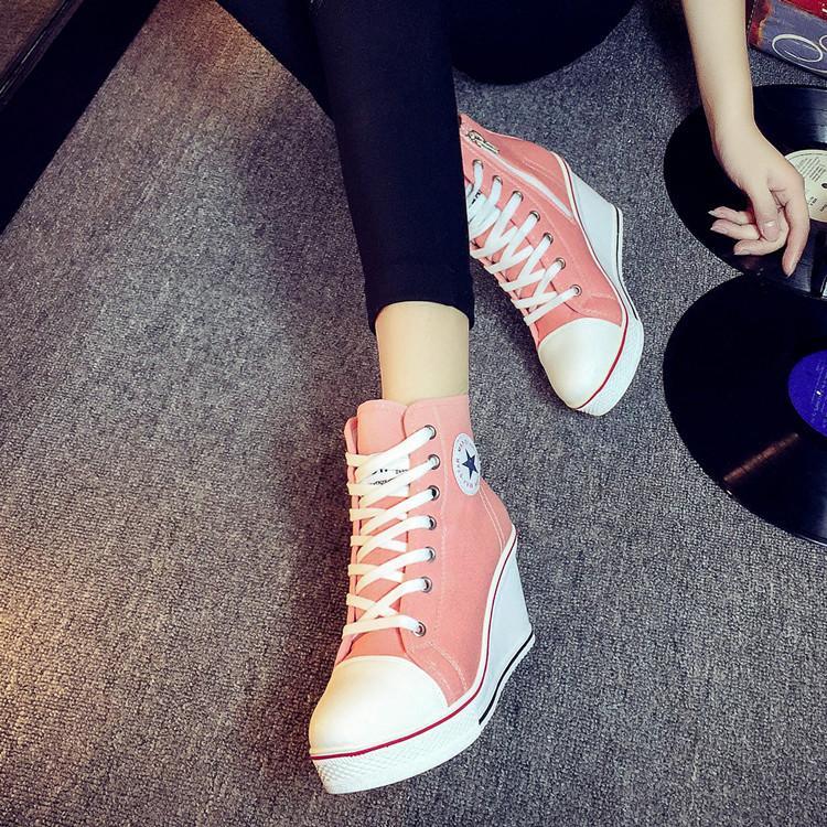 South Korea ulzzang slope heel canvas shoes 8cm high heel South Korean zipper lace up high rise womens casual shoes