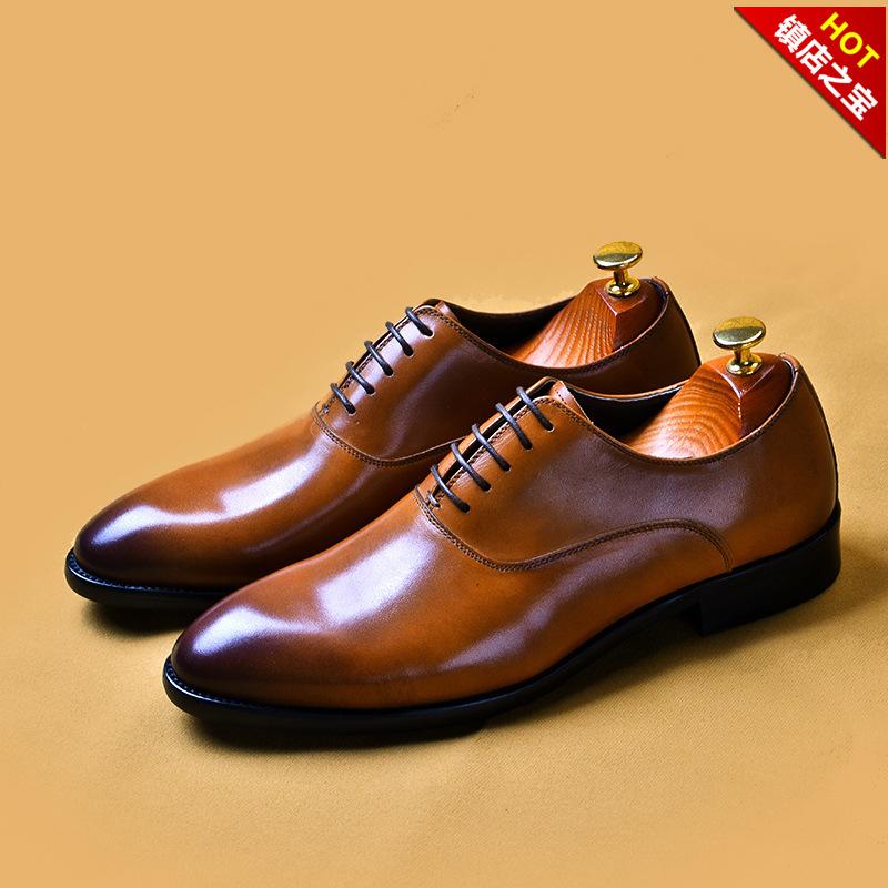 真皮头层牛皮男士商务皮鞋牛皮大码擦色婚鞋高档手工男式正装单鞋