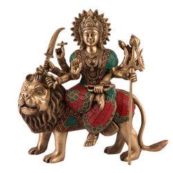 代购 佛像雕像 杜尔迦女神印度教MaaDevi宗教黄铜绿松石偶 工艺品