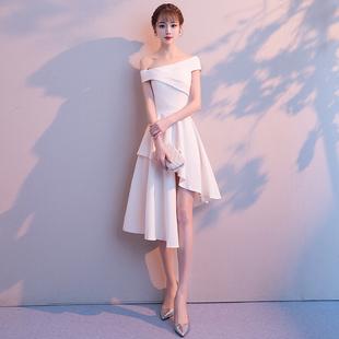 白色小晚礼服女宴会派对连衣裙一字肩中长款伴娘服气质年会主持人