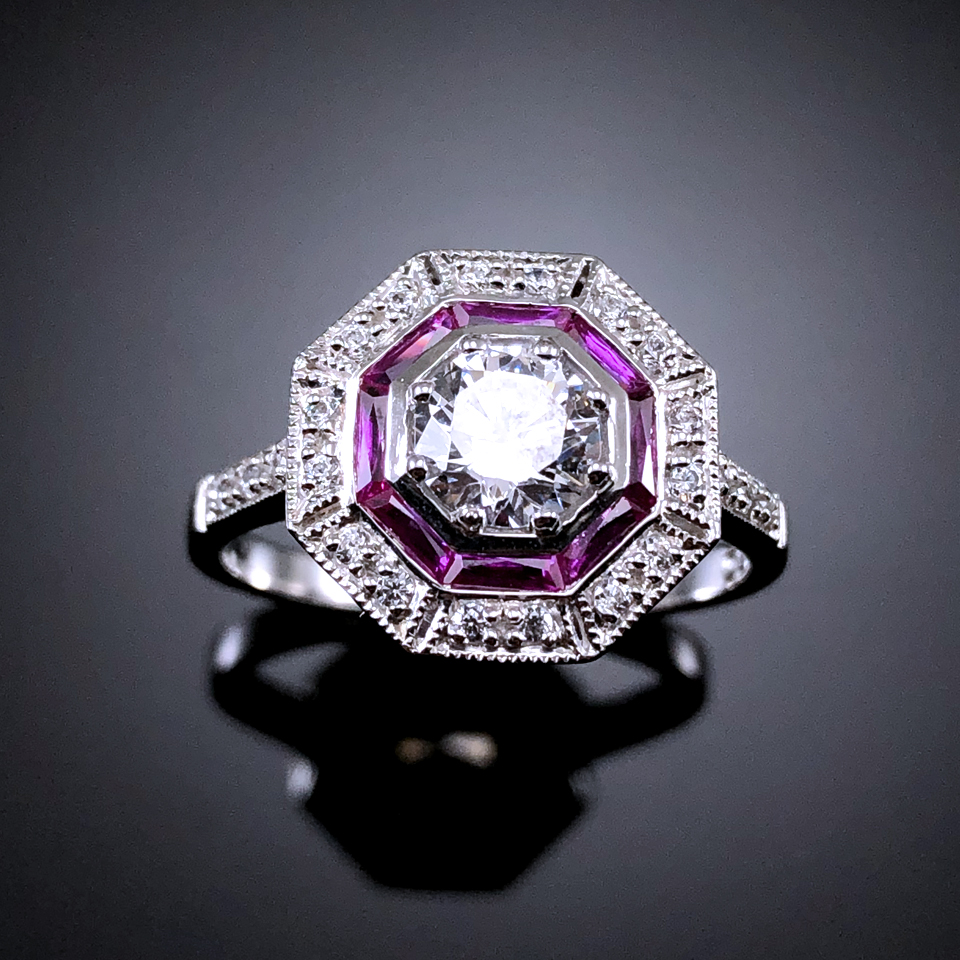 United Jewelry Art Deco Ruby 925 Sterling Silver Handmade ring
