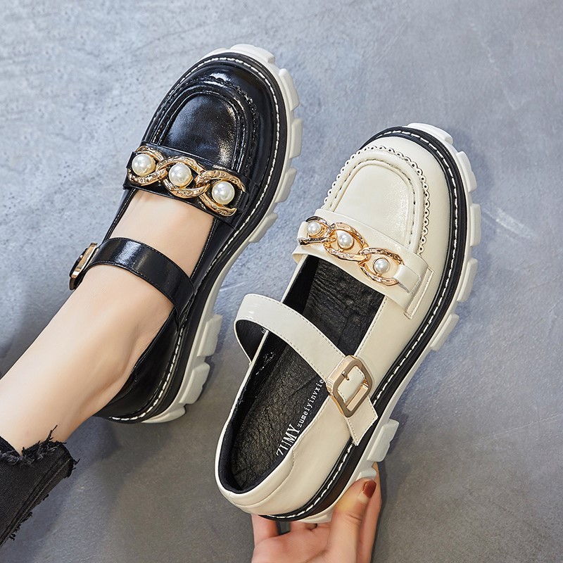 Mary Jane shoes small leather shoes womens thick soled womens shoes retro sweet cool pearl chain single shoes niche Lolita shoes