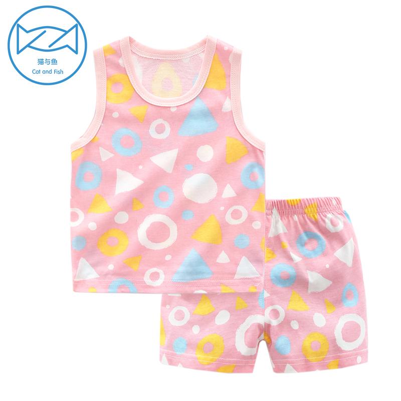 女宝宝儿童夏季短裤两件套0岁1背心套装3纯棉衣服女童男婴儿夏装