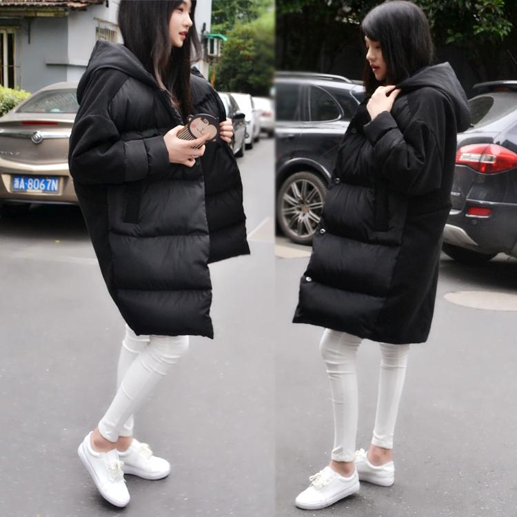 Хлеб одежды хлопок платье Корея долго легко плюс размер с капюшоном Пальто в толще шерстяное шить новое зимнее пальто