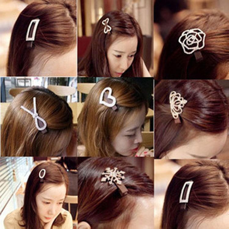 Classic fabric headdress hairpin Korean water diamond bow hairpin crown duck beak snow edge clip hot sale