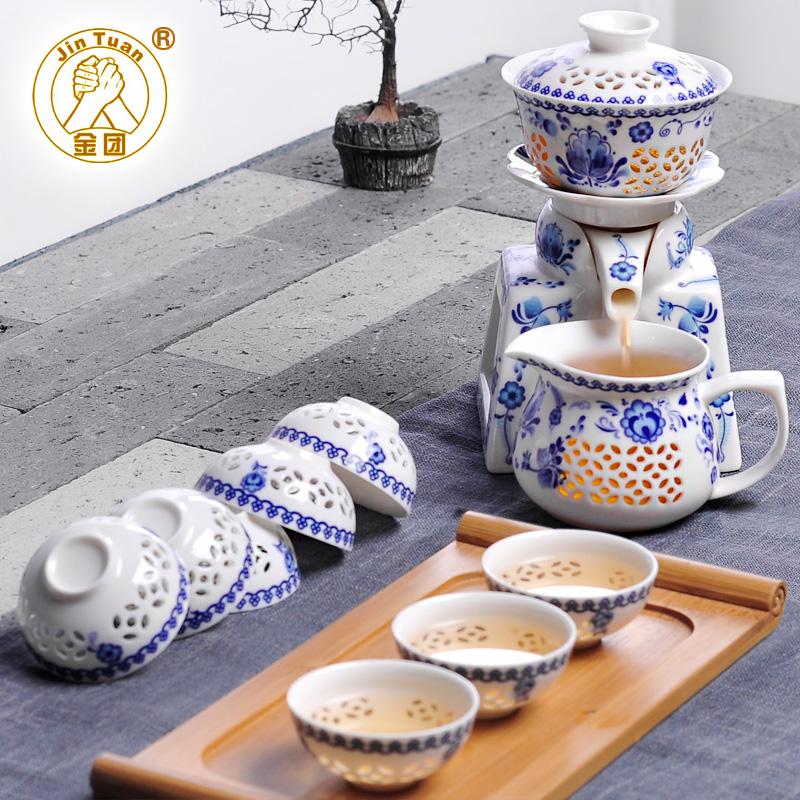 全自動青花瓷玲瓏瓷防燙陶瓷茶具套裝半自動自流水功夫衝茶器整套