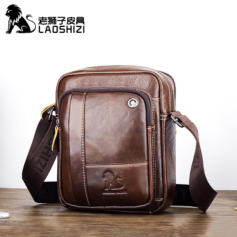 Head leather mens satchel fashionable retro One Shoulder Messenger Bag personalized Brown inner patch bag vertical square new product