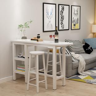新款简约家用靠墙小吧台高脚桌简易酒吧咖啡长条桌窄子隔断 包邮