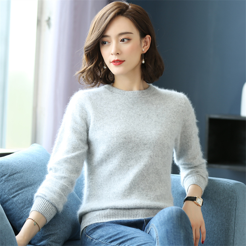 Mink sweater womens round neck autumn and winter new pure color mink cashmere sweater slim fit short Pullover bottom cashmere sweater warm