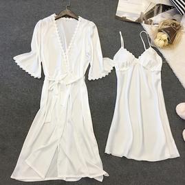 睡裙女夏季冰丝性感吊带薄款带胸垫可外穿两件套装真丝绸春秋睡衣