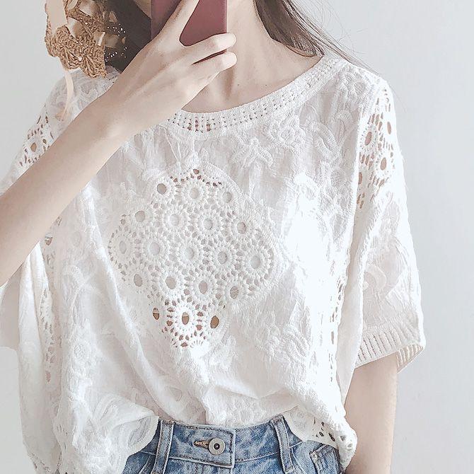 夏季全棉镂空蕾丝钩花上衣女 白色比基尼罩衫防晒衣度假沙滩衣衫