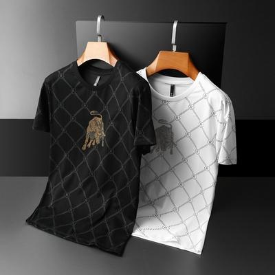 夏季男士短袖t恤圆领新疆长绒棉玉蚕丝印花烫钻QT6019-7822P60