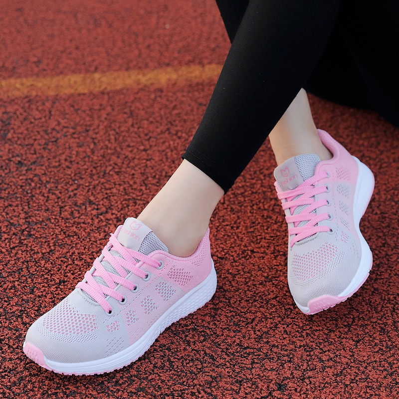 Spring and autumn new sports shoes womens running shoes girls net surface students light and versatile Korean version leisure soft bottom for ventilation