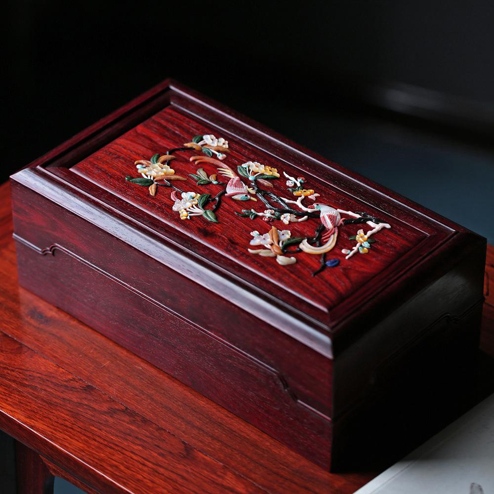 印度小叶紫檀百宝嵌太平吉祥机关盒多宝盒首饰盒收纳盒文玩收藏品