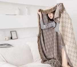 北欧轻奢全棉竹纤维流苏沙发毯夏被空调被夏凉被休闲毯子毛巾被