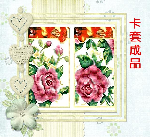 新款纯人工手绣十字绣花卉卡套成品粉红色玫瑰公交卡等各种卡类用