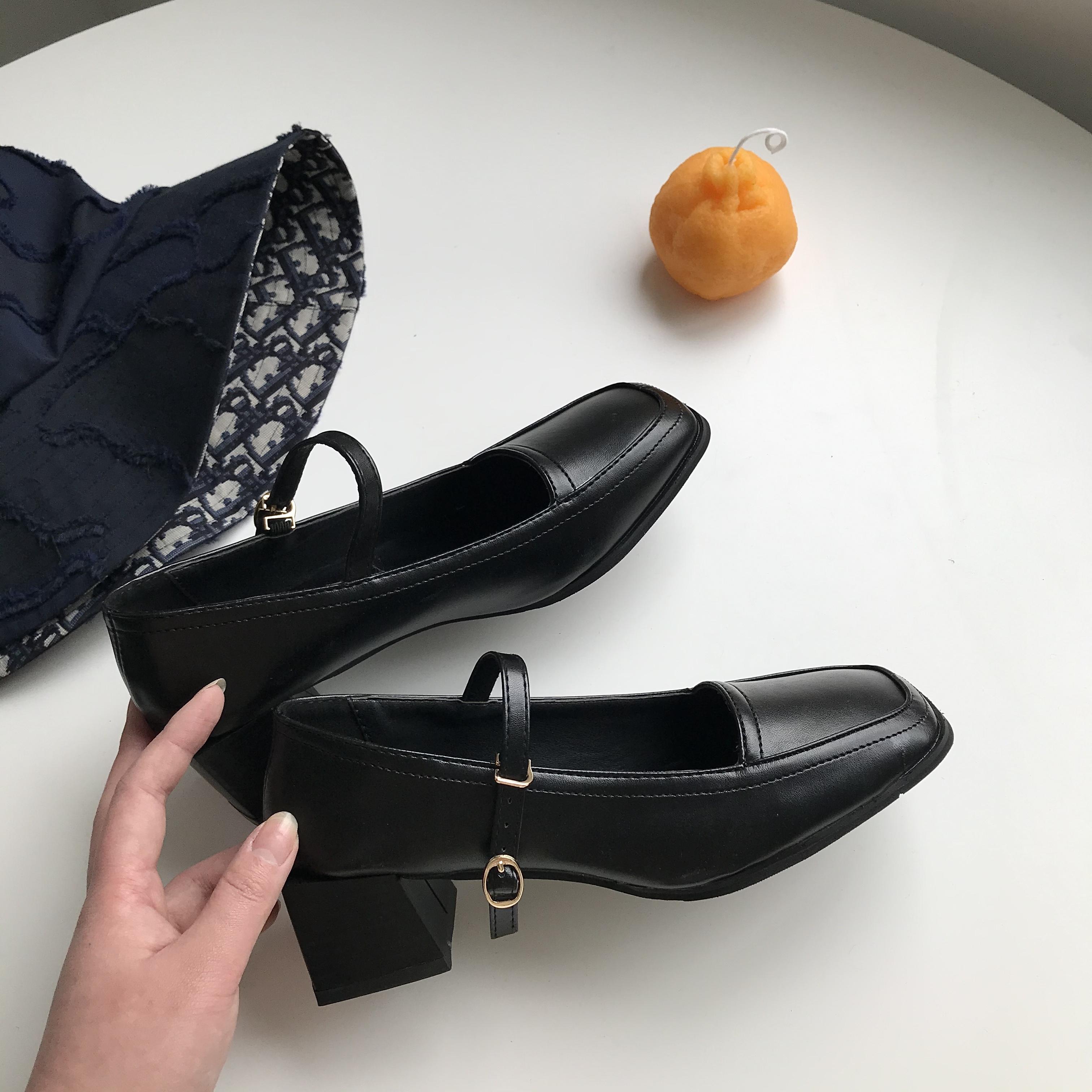 小sun家 复古玛丽珍鞋小皮鞋女2020夏黑色方头法式粗跟一字带凉鞋
