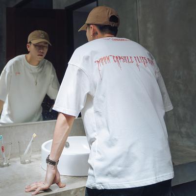 第四十九天夏季刺绣字母短袖T恤男士宽松圆领半袖潮牌打底体恤衫