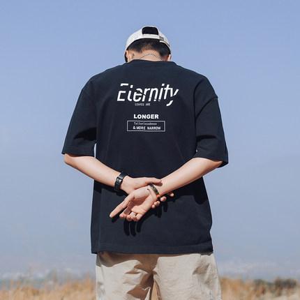 第四十九天夏季字母印花短袖T恤男士半袖潮流上衣圆领体恤宽松TEE