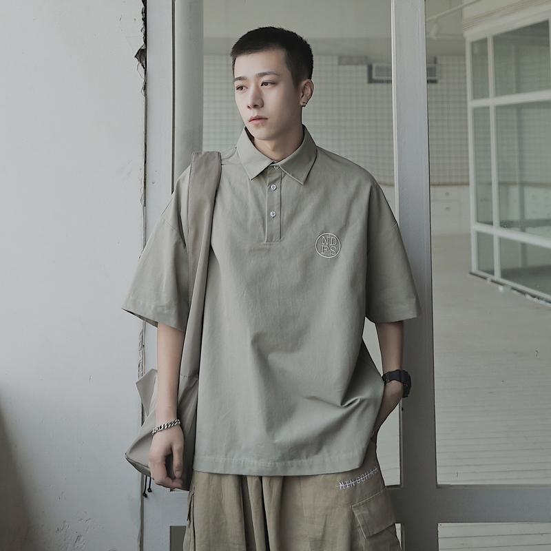 2020夏季新款刺绣字母短袖POLO衫男士潮流韩版翻领半袖宽松体恤衫