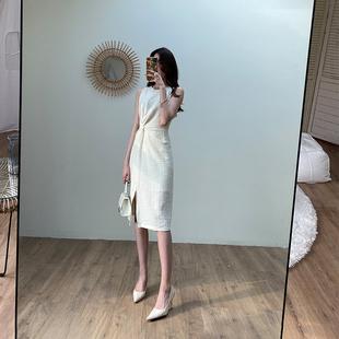 設計感法式無袖開叉連衣裙2020新款夏輕熟風褶皺扭結收腰顯瘦裙子