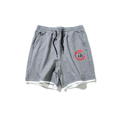 夏季高品质日系白底文字中国风假两件五分裤休闲运动短裤D521-P30