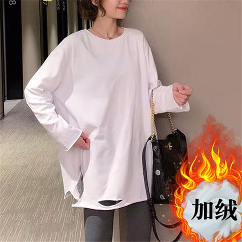 白色纯棉打底衫内搭秋冬装洋气宽松大码加厚加绒中长款t恤女长袖