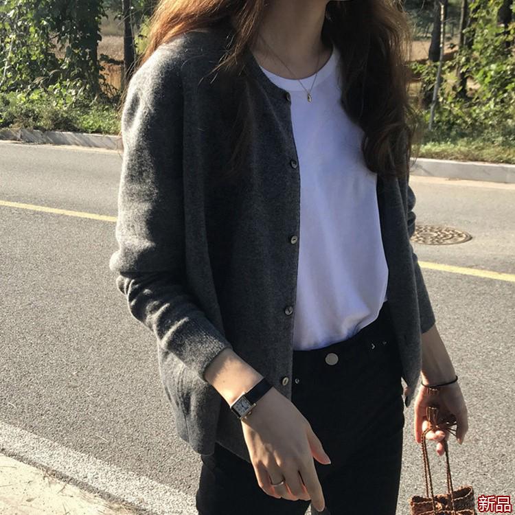 深灰色网红复古毛衣外套女春秋季韩版慵懒风软糯针织开衫外穿上衣