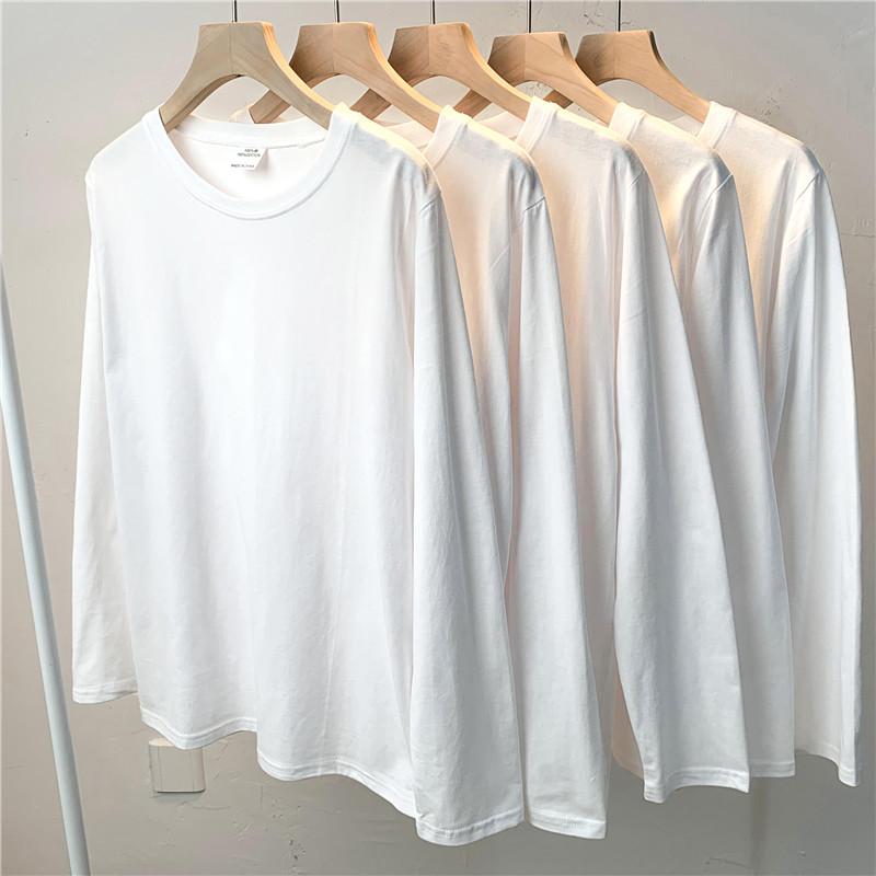 200克重磅纯棉长袖t恤女圆领宽松纯色上衣白色厚实体恤打底衫内搭
