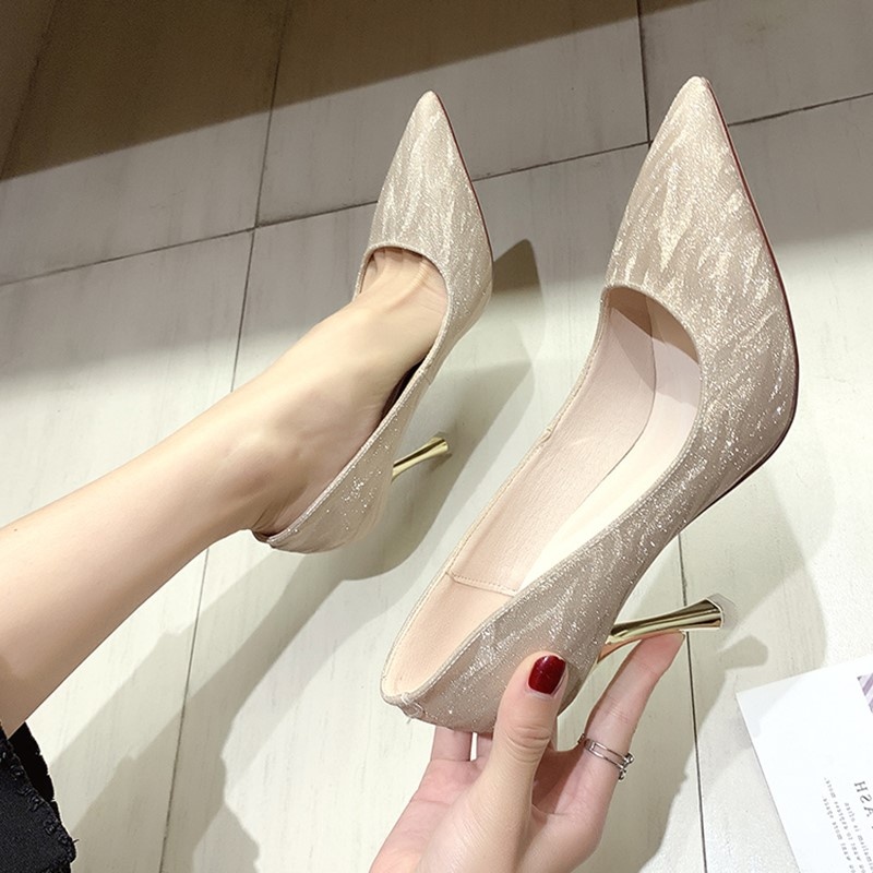 Silver high heels ins fairy net red single shoes women 2019 new versatile pointed French girl sexy thin heel wedding