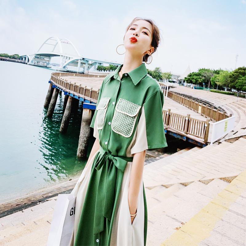 连衣裙女夏法式长款设计感小众复古轻熟风气质收腰显瘦衬衫裙子潮
