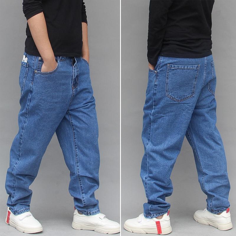 Korean version fashionable mens skateboarding pants four seasons Leggings fat man loose hip hop pants mens large Harlan jeans pants