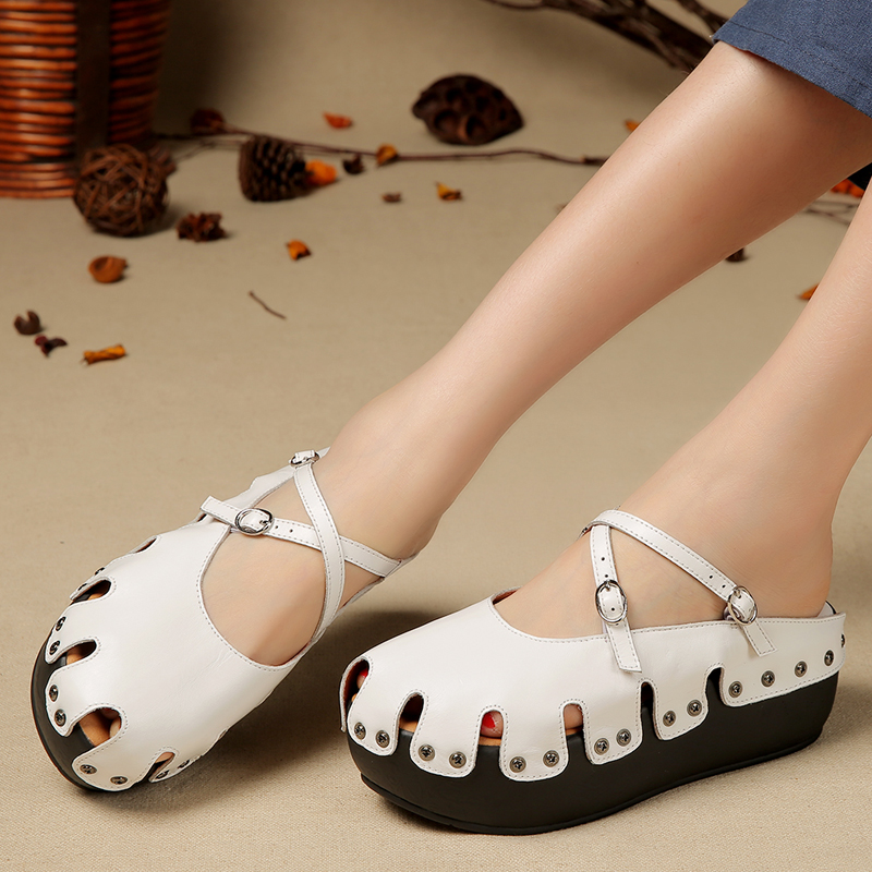 Personalized Baotou thick bottom muffin sandals handmade forest sandals retro fashion sandals Leather Cross buckle fashion