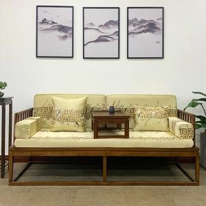 古典红木沙发垫实木家具坐垫带靠背丝绸鹊上枝头防滑罗汉床垫订做