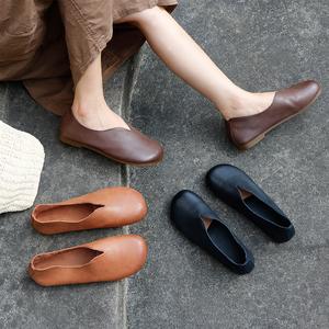 单鞋女2020新款奶奶鞋女平底真皮文艺复古森系孕妇鞋一脚蹬女鞋子