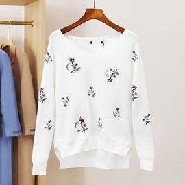 杭典●贝P系列20冬季新品女士时尚V领绣花套头针织衫~专柜折扣786图片