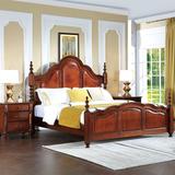 美式乡村实木床1.8米双人床复古轻奢核桃木大床1.5米储物高箱床