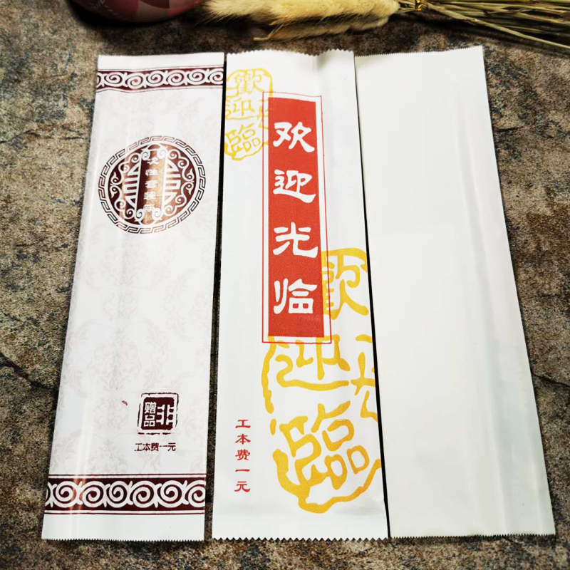 One time bamboo chopsticks package film gloves with toothpick spoon straw tableware fast food hotel can be customized