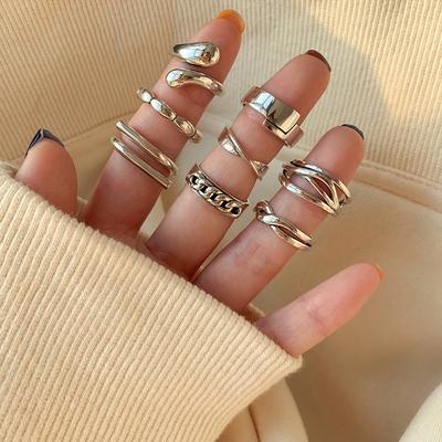 为晚 重工简约组合食指纯银戒指女轻奢小众ins冷淡风个性蹦迪指环