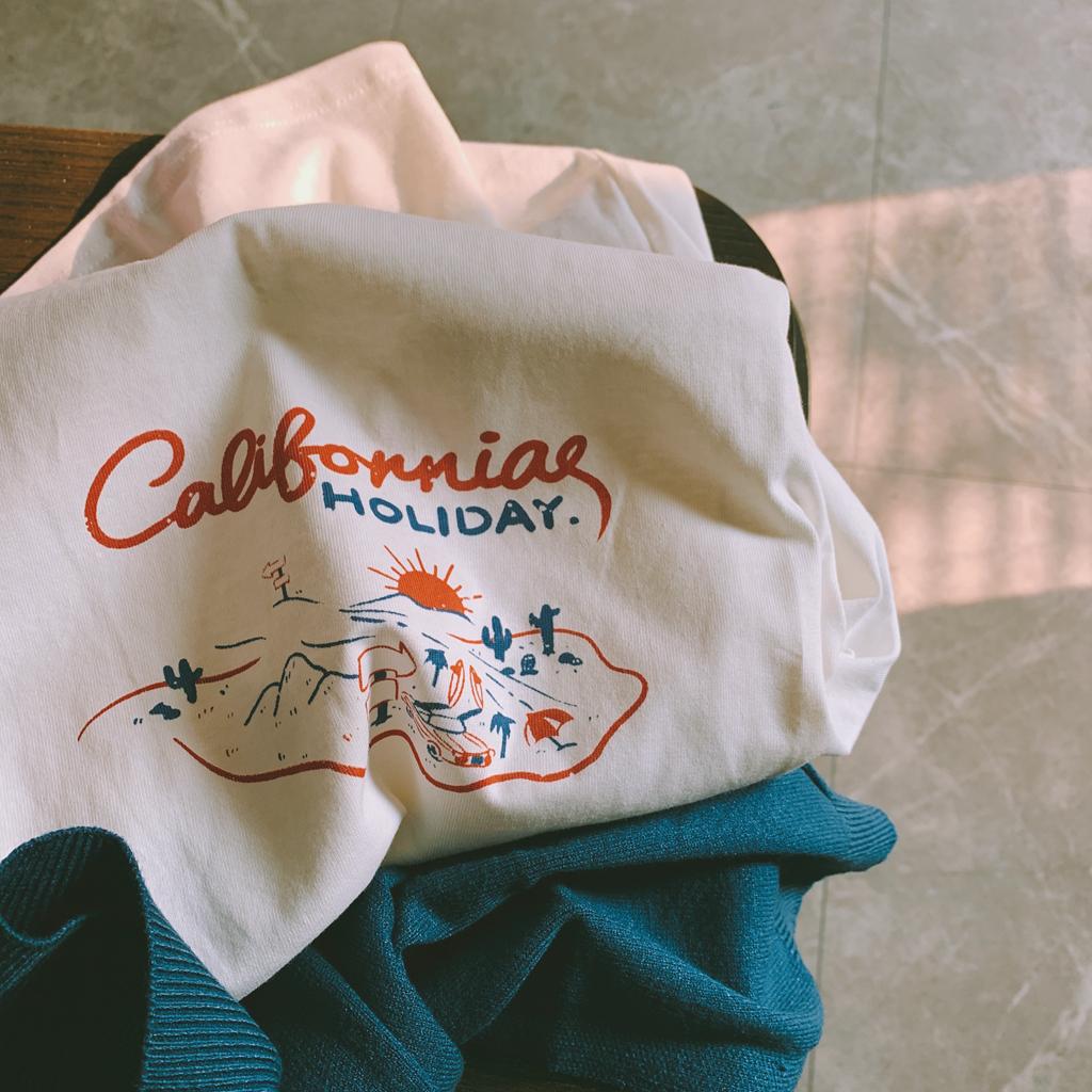 加州旅馆。纯棉の撞色素描印花女夏新纯色T恤。售完无补