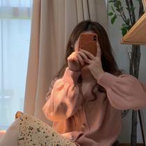 软糯针织衫女2021年秋季新款百搭开衫外套温柔风长袖毛衣短款上衣