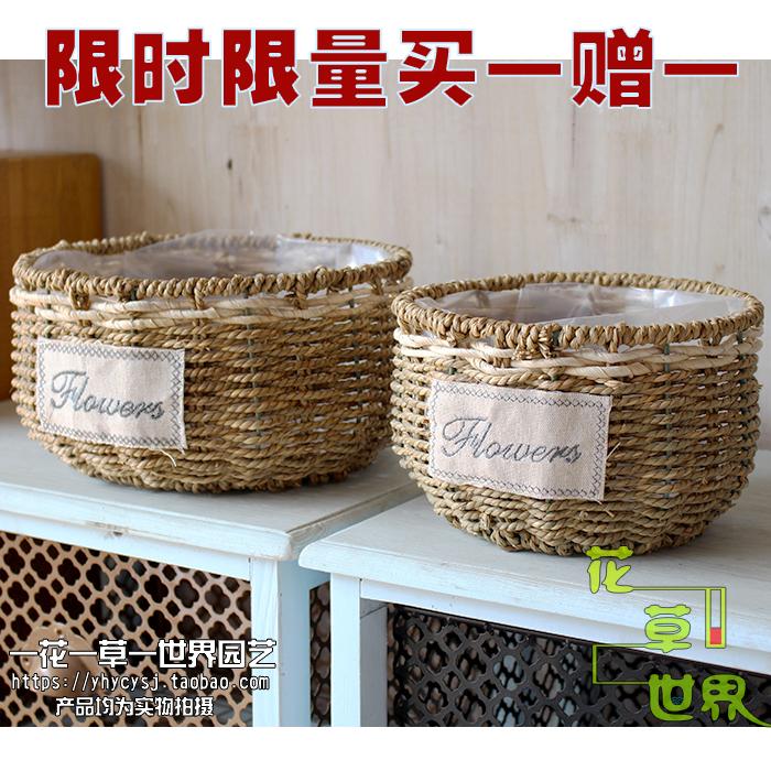 Творческий ткать ива компилировать солома ротанг цветочный горшок цветочная композиция корзины ручной работы больше мясо комнатные cциндапсус золотистый бамбук компилировать сельская местность оптовая торговля