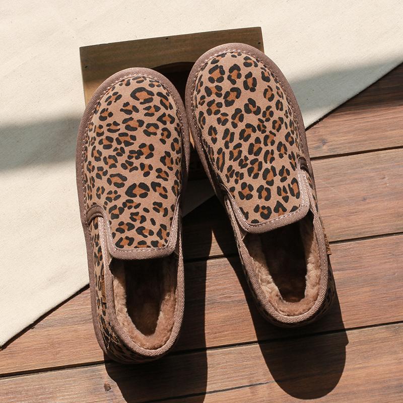 2020新款冬季雪地靴女短筒学生豹纹懒人一脚蹬加绒加厚棉鞋毛毛鞋