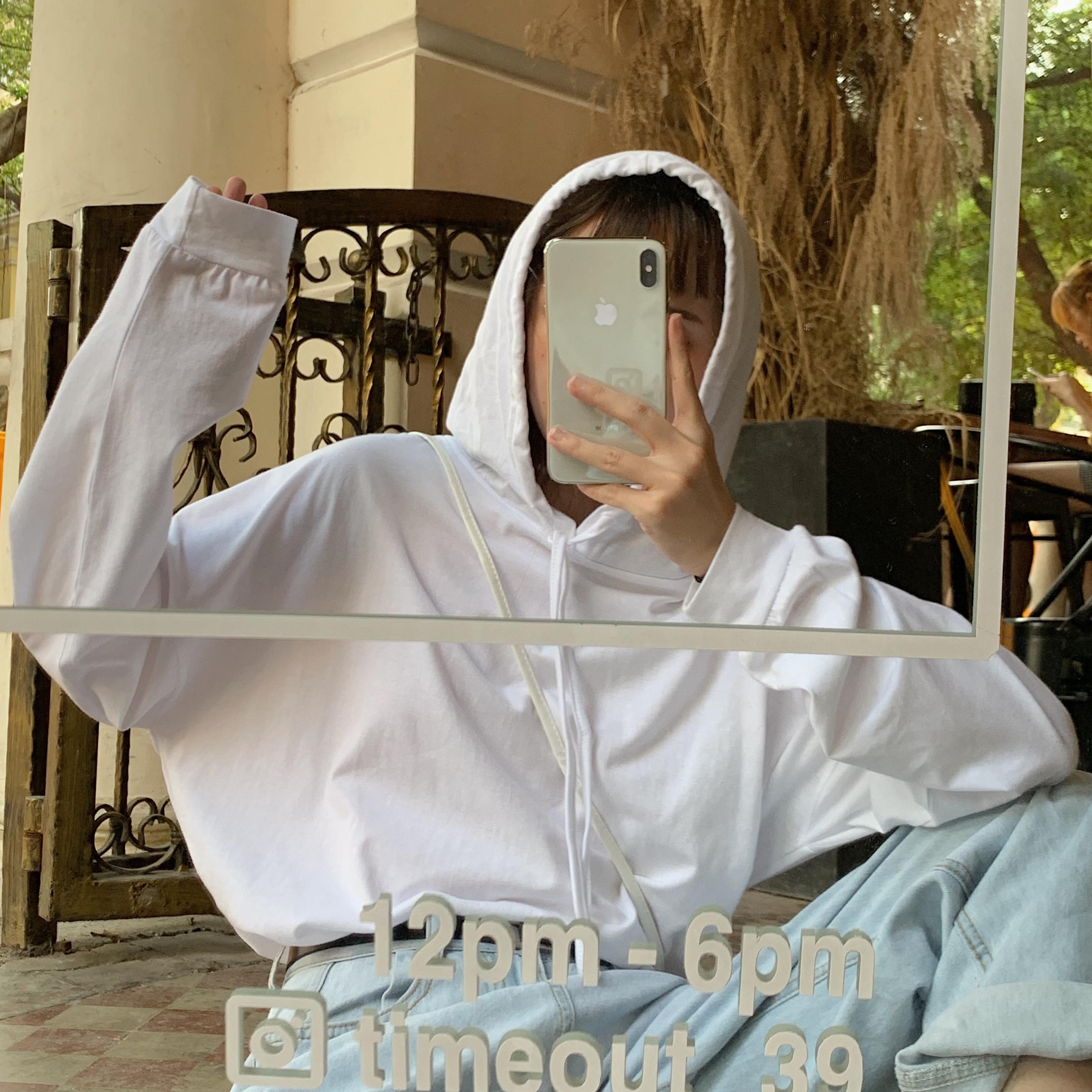 樱田川岛2019新款夏季学院风纯色宽松连帽薄款防晒长袖T恤上衣女热销25件正品保证