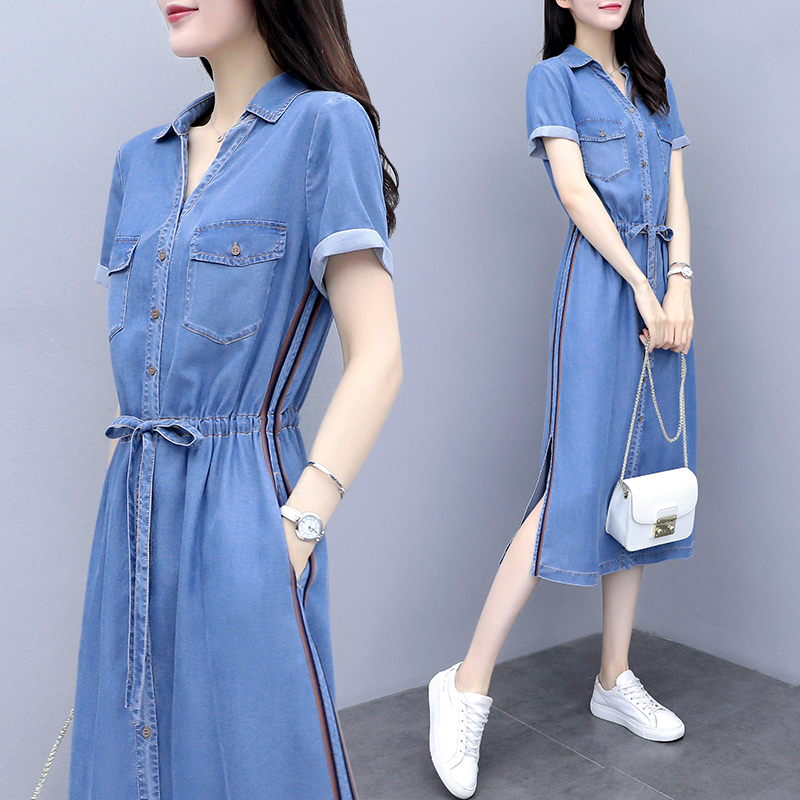 Summer denim dress autumn 2020 new womens dress medium length temperament shirt long skirt summer casual skirt