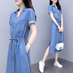 夏季牛仔连衣裙2020年秋新款女装中长款气质衬衫长裙夏天休闲裙子