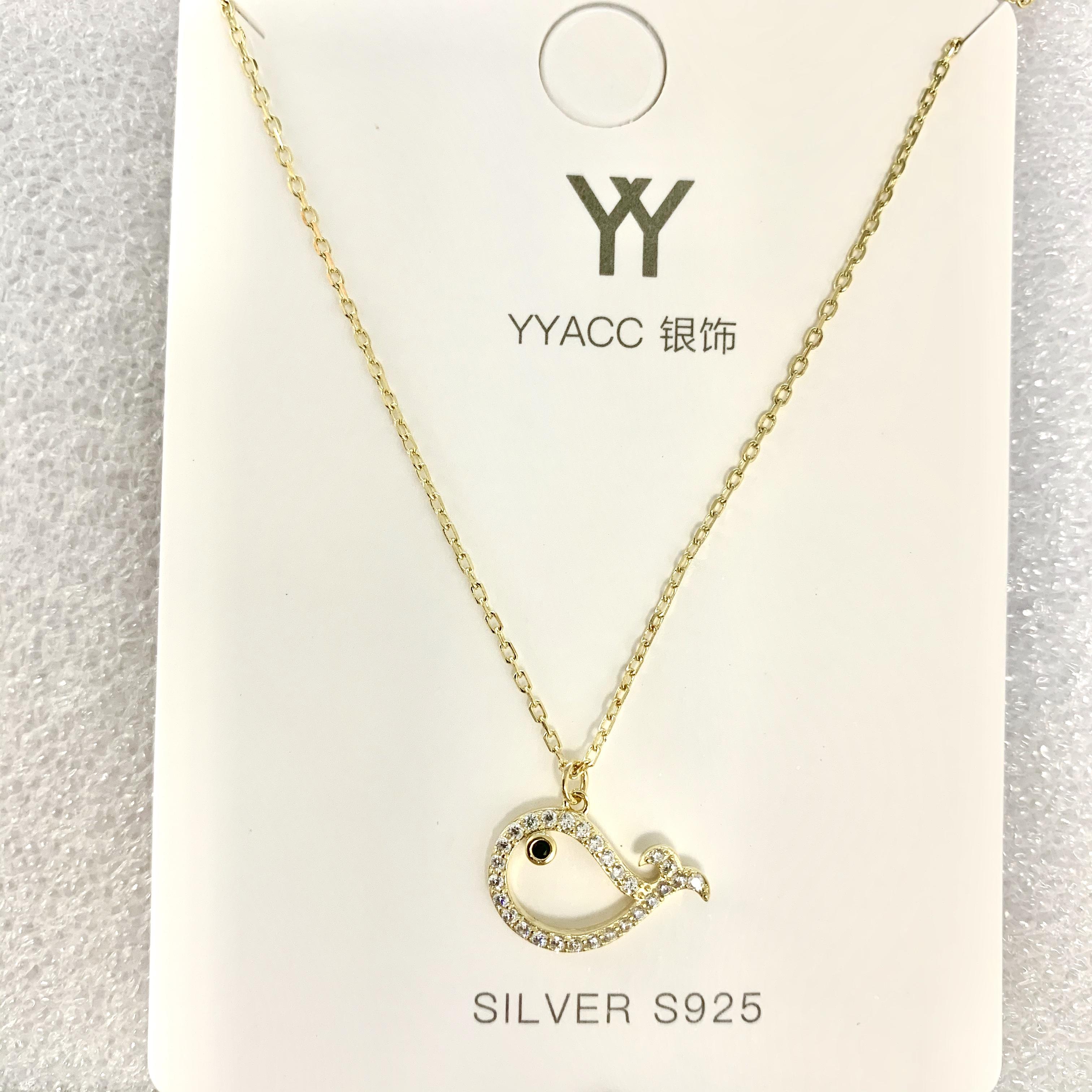 2020新款S925银镀金可爱的小海豚闪闪超百搭锁骨链项链